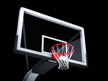 Basketball Backboard On Black Background