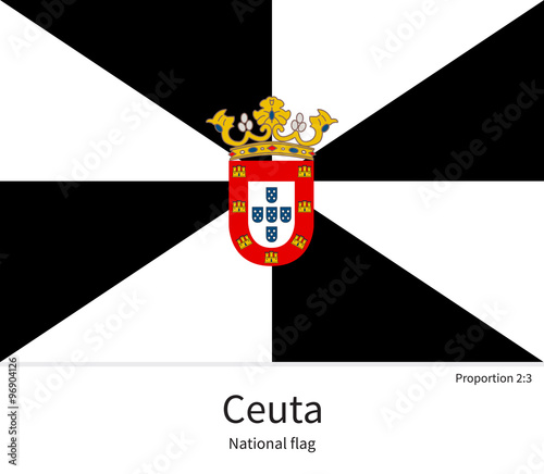 National flag of Ceuta with correct proportions, element, colors