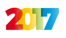 The Word 2017. Vector Banner With The Text Colored Rainbow.