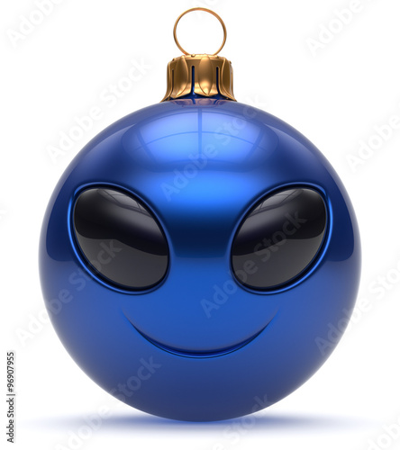 Christmas Ball Emoticon Smiley Alien Face Happy New Year's Eve Bauble  Cartoon Cute Decoration Blue Merry Xmas Cheerful Funny Smile Person  Character T