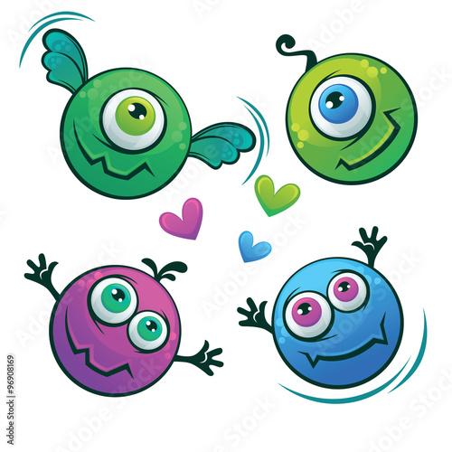 Foto op Canvas Schepselen Cute cartoon monsters characters, vector set