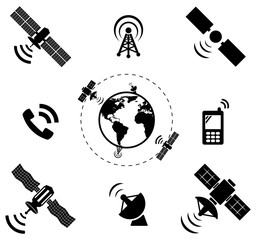 set of wireless satellite technology, vector