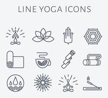 Set Of 12 Line Yoga Icons.