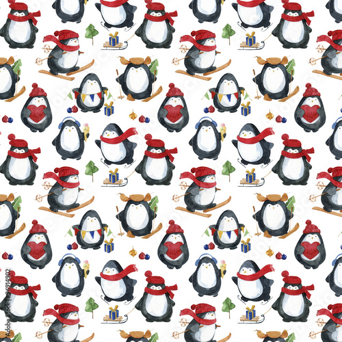 Cotton fabric Seamless watercolor pattern.Cute little penguins preparing for Christmas.