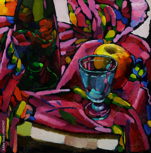 Oil painting. Still life with a bottle, a glass, an apple on a colored tissue - 96921907