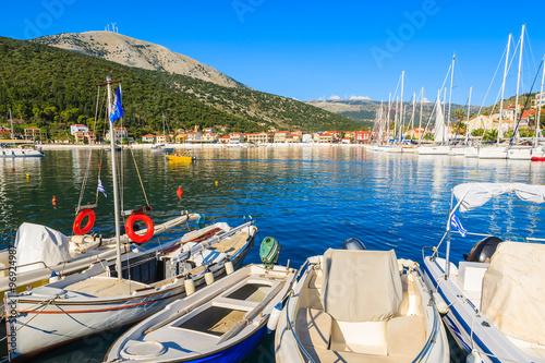 Foto op Plexiglas Cyprus Traditional Greek fishing boats in port of Agia Efimia village, Kefalonia island, Greece