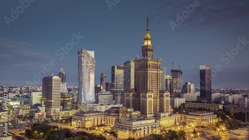 fototapeta na szkło Aerial view of Warsaw Downtown at srunrise, Poland