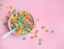 Colorful Cereal  On A Pink  Ba...