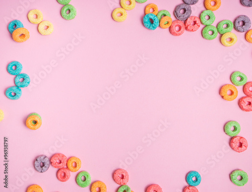 Colorful cereal  on a pink  background Tapéta, Fotótapéta