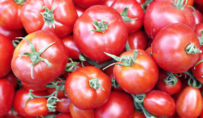 Background of bright red ripe tomatoes