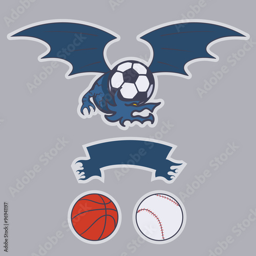 Dragon football, basketball, baseball, soccer team emblem Poster