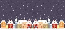 Town In Winter, Vector Background