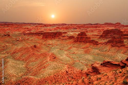 Foto op Canvas Baksteen landscape of red sandstone in zhangye