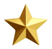 Golden Star Isolated 3d Rendering