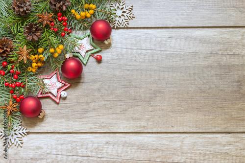 Fototapeta Świąteczna dekoracja na drewnianych deskach obraz