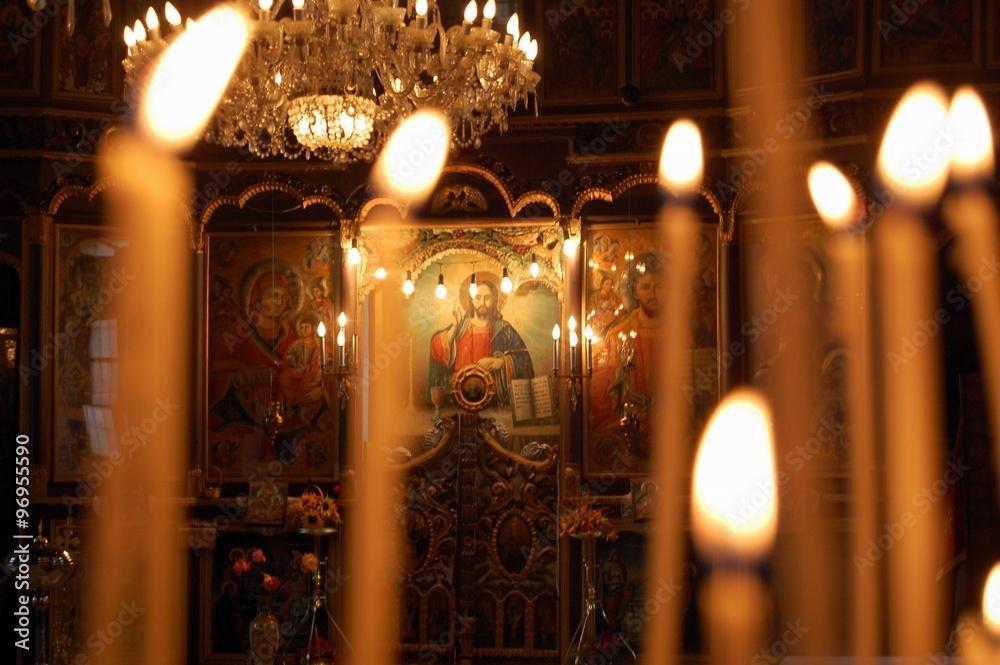 Fototapety, obrazy: Burning candles in orthodox church