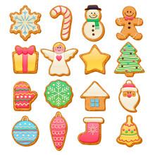 Colorful Beautiful Christmas Cookies Icons Set.