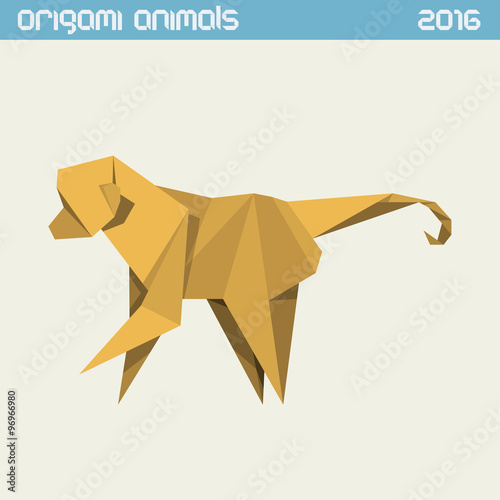 Wall Murals Horses Origami monkey. Vector simple flat illustration. New Year 2016