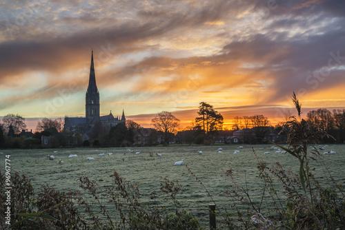 Poster Kaki Winter frosty sunrise landscape Salisbury cathedral city in Engl