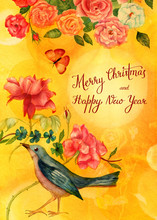 Vintage 'Merry Christmas And Happy New Year' Postcard With Calligrafy