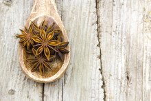Star Anise On Wooden Spoon