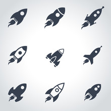 Vector Black Rocket Icon Set. ...