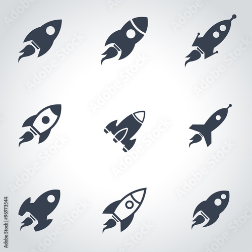 Photo  Vector black rocket icon set