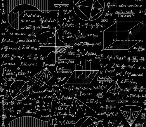 Mathematical vector seamless pattern with formulas, plots, functions