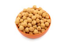 Sweet Corn Balls In Orange Bowl Isolated On White Background