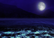 Full Moon Reflected In Water