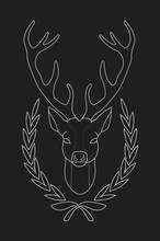 Deer Head In Laurel Wreath Heraldry Emblem. Chalk