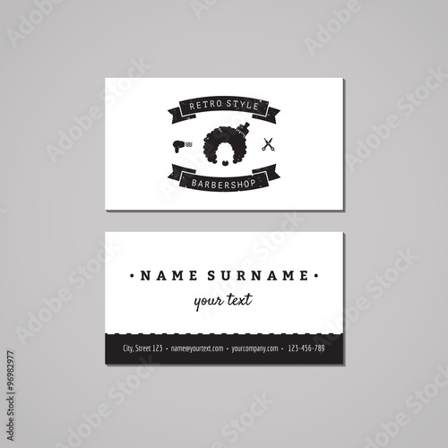 barbershop business card design concept barbershop logo with afro hairstyle woman vintage hipster