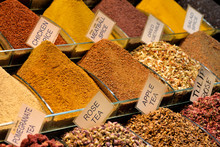 Mix Of Spices At The Open Air Market In Istanbul, Turkey.