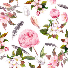 FototapetaPeony flowers, sakura, feathers. Vintage seamless floral pattern. Watercolor