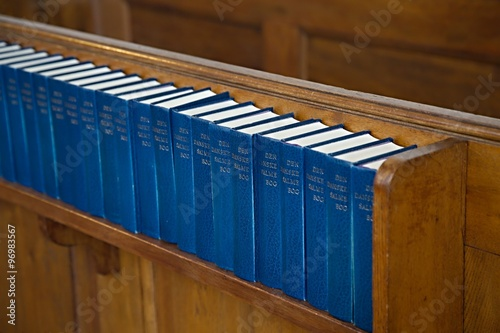 Church interior with Hymnals Canvas-taulu