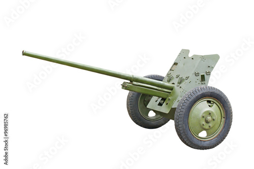 Poster  The 45-mm Russian division cannon gun from WWII.Isolated.