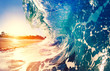 canvas print picture - Oceaen Wave at Sunrise