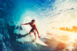 canvas print picture - Surfer on Blue Ocean Wave