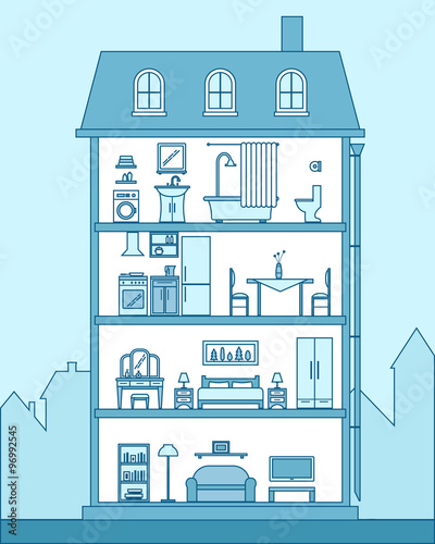 Poster de jardin Route House in cut. Detailed modern house interior.