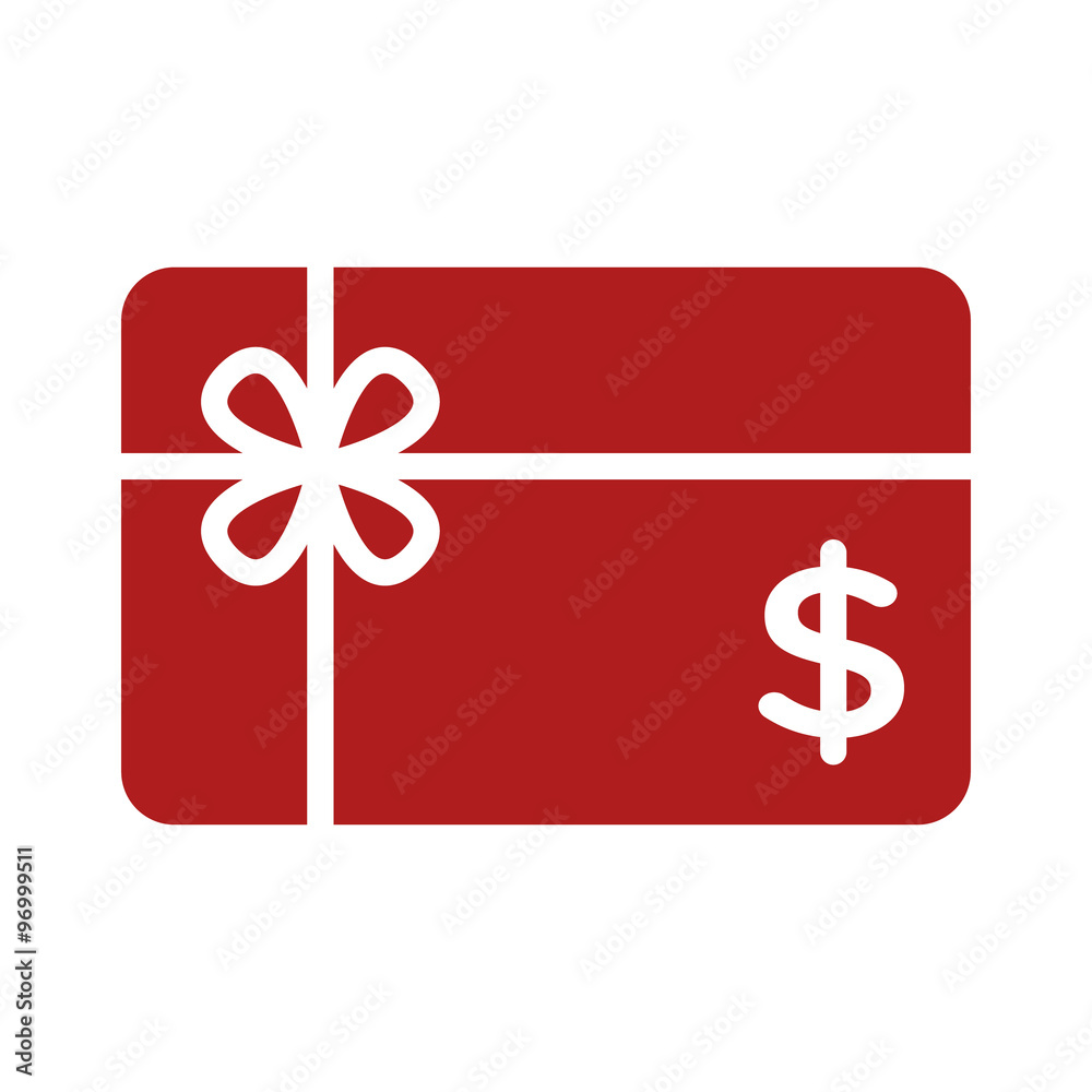 Fototapeta Shopping gift card flat icon for apps and websites