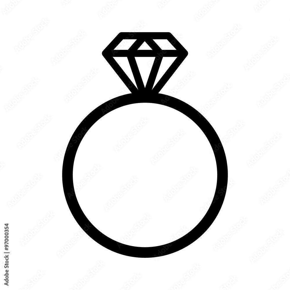 Fototapety, obrazy: Diamond engagement ring line art icon for websites