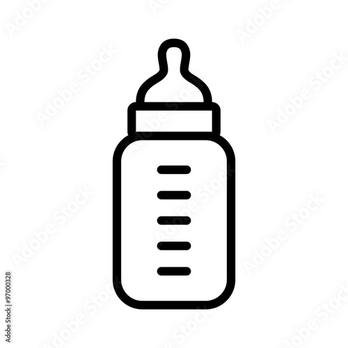 Fényképezés Baby milk bottle line art icon for apps and websites