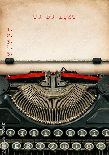 Deurstickers Retro Antique typewriter aged paper. Business concept To Do List
