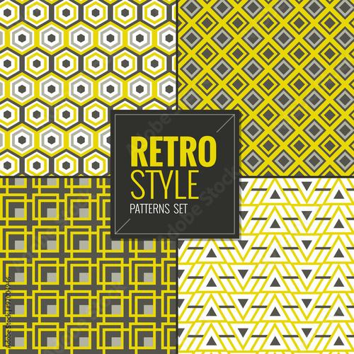 Garden Poster Retro sign Retro vintage seamless patterns set vector illustration