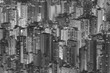 Aerial view of Hong Kong City in black and white