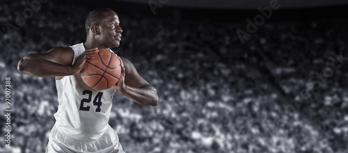 Fototapeta African American Basketball Player in a large basketball arena