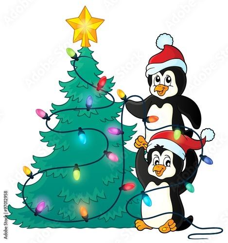 Spoed Fotobehang Voor kinderen Penguins near Christmas tree theme 1