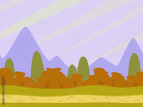 Tuinposter Purper Cartoon flat seamless landscape
