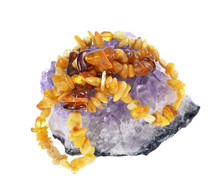 Beads Of  Amber On Amethyst Dr...