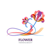 Vector Illustration Of Colorful Tropic Flowers.